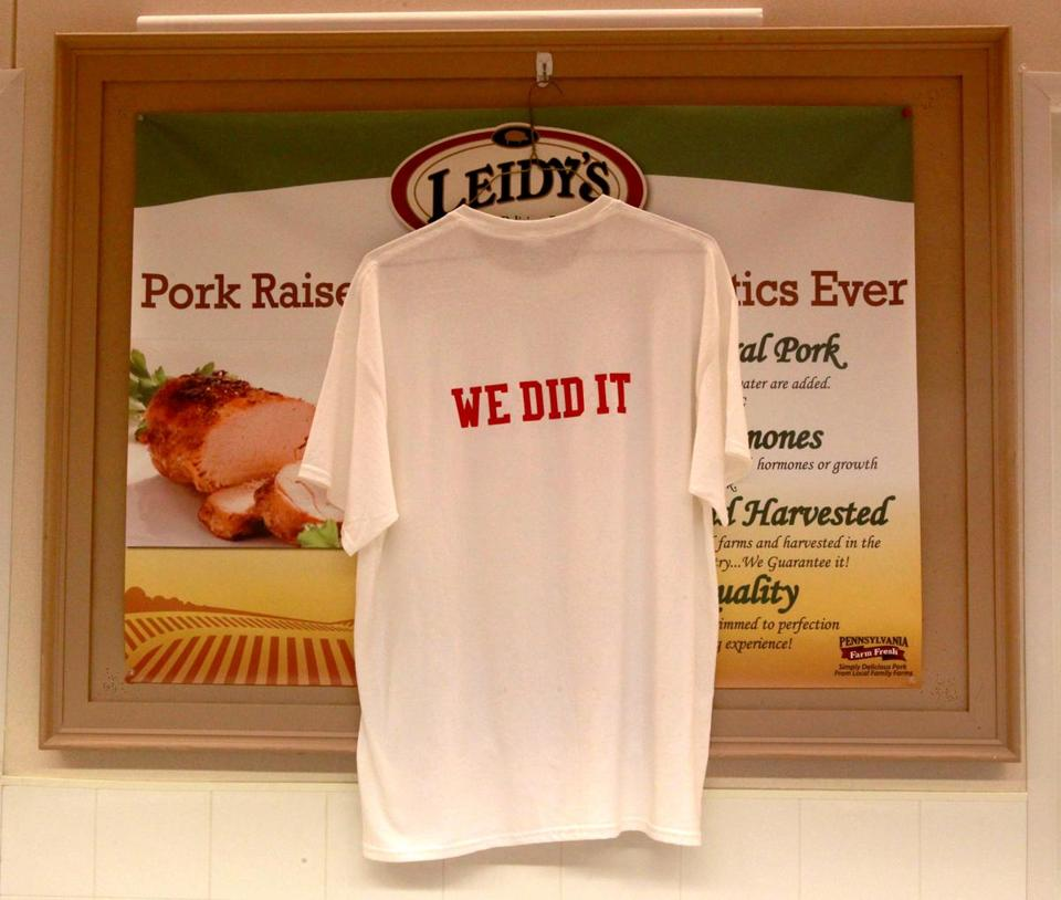 A T-shirt hung in the meat department of the Burlington store as a reminder of 2014's dispute.